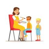 Garçons dans la ligne pour obtenir leurs visages peints, enfants dans l'illustration de partie de costume avec l'enfant de sourir Photos libres de droits