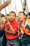 Garçons pendant le festival d'Aoleang Photographie stock libre de droits