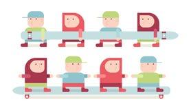 Garçons sur un longboard Image libre de droits