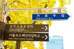 Garosugil Street Sign,Seoul, Republic of Korea. Garosugil Street Sign, Garosugil is a trendy tree-lined street with plenty of cafes, bars, restaurants and shops Royalty Free Stock Photography