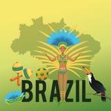 Garoty kreskówka Brazil i ikony set Obraz Royalty Free