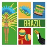 Garoty kreskówka Brazil i ikony set Zdjęcia Stock