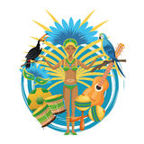 Garoty kreskówka Brazil i ikony set ilustracja wektor
