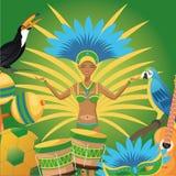Garoty kreskówka Brazil i ikony set ilustracji