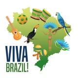 Garoty kreskówka Brazil i ikony set Zdjęcie Royalty Free