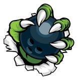Garra animal do monstro que guarda dez Pin Boliches Ball ilustração stock