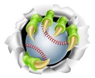 Garra con el estallido de la bola del béisbol del fondo Imagen de archivo