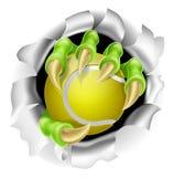 Garra con el estallido de la pelota de tenis del fondo Imágenes de archivo libres de regalías