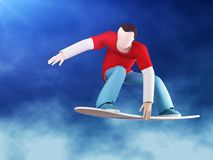 Garra do Snowboarder 3D Fotografia de Stock Royalty Free