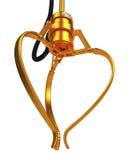 Garra robótica de oro cerrada Imagen de archivo libre de regalías