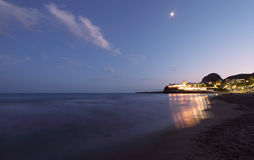 Garraf seascape. Seascape at night in Garraf, Spain Stock Image