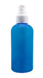 Garrafa branca limpa plástica com distribuidor azul Imagens de Stock Royalty Free