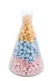 Garrafa com drogas e comprimidos Fotografia de Stock Royalty Free