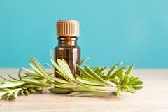 Garrafa com óleo e alecrins aromáticos Fotografia de Stock Royalty Free