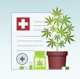 Garrafa com marijuana médica e os comprimidos médicos do cannabis - tabuletas da marijuana ilustração stock