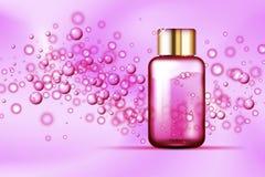 Garrafa cor-de-rosa das bolhas no fundo de seda Imagens de Stock Royalty Free