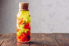 Garrafa da água com tomate e aipo Foto de Stock