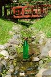 Garrafa da água em um ribeiro fotos de stock royalty free