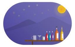 Garrafa da bebida na tabela na noite da Lua cheia do partido com Mountain View, e máscara do grampeamento da liberação para a ima ilustração stock