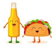 Garrafa da cerveja e do taco Caráteres estilizados Ilustração do vetor ilustração do vetor