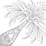 Garrafa da explosão de Champagne, estilo do zentangle Esboço a mão livre para Imagem de Stock Royalty Free