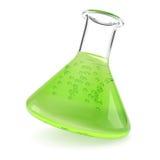 Garrafa da química com líquido verde ilustração stock