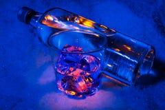 A garrafa da vodca na neve com vidro encheu-se com o gelo Imagem de Stock Royalty Free