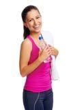 Garrafa de água saudável da mulher fotografia de stock