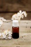 Garrafa de óleo essencial do aroma em um fundo de madeira Do vintage vida ainda Imagem de Stock