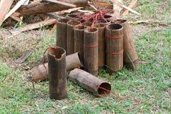 Garrafa de bambu 2 fotos de stock