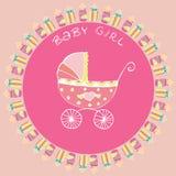 Garrafa de bebê e cartão do pram Imagem de Stock Royalty Free