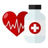Garrafa de comprimido & ícone do conceito dos cuidados médicos do coração ilustração royalty free