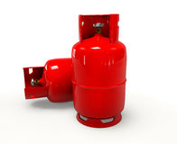 Garrafa de gás no fundo branco Fotos de Stock