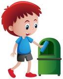 Garrafa de jogo do menino em trashcan Imagens de Stock