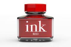 Garrafa de tinta vermelha ilustração stock