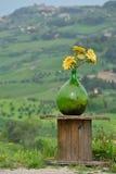 Garrafa de vidro com flores Fotos de Stock Royalty Free