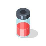 Garrafa de vidro com o medicamento vacinal líquido vermelho ilustração royalty free