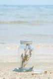 Garrafa de vidro e mar Fotografia de Stock