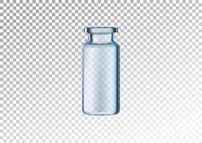 Garrafa de vidro realística do vetor Tubos de ensaio cosméticos para o óleo, líquido essencial, soro do colagênio Ilustração do v ilustração royalty free