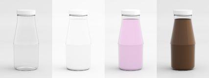 Garrafa de vidro vazia para o leite, o leite fresco, o leite da morango, e o Ch Foto de Stock Royalty Free