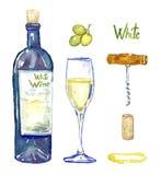 Garrafa de vinho branco, copo de vinho, uvas, corkscrew, cortiça e mancha, grupo isolado ilustração do vetor