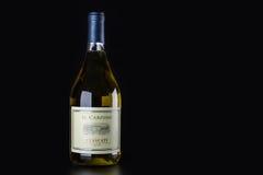 Garrafa de vinho branco em um fundo preto Imagens de Stock Royalty Free