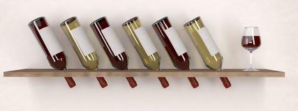 Garrafa de vinho branco vermelha com vidro no modelo arquivar Fotos de Stock Royalty Free