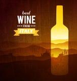 Garrafa de vinho com a paisagem de Toscânia Imagens de Stock