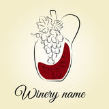 Garrafa de vinho com uva Conceito tirado mão para produtos da adega Fotos de Stock Royalty Free