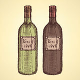 Garrafa de vinho do esboço no estilo do vintage Fotografia de Stock