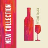 Garrafa de vinho e vidro - ilustração abstrata Imagens de Stock Royalty Free