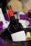 Garrafa de vinho na cubeta de gelo com fundo do borrão fotos de stock royalty free