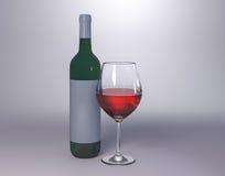 Garrafa de vinho tinto com vidro Imagem de Stock Royalty Free