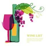 Garrafa de vinho, vidro, vinha cor-de-rosa, ilustração da aquarela Ab Imagens de Stock